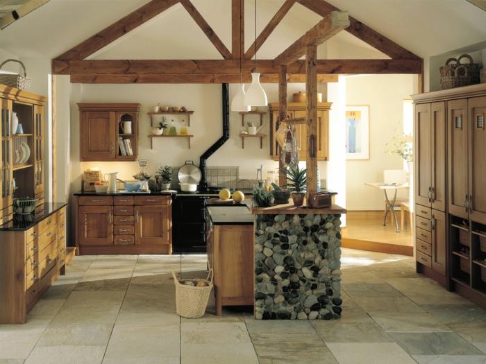 küchen im landhausstil kücheninsel steine bodenfliesen