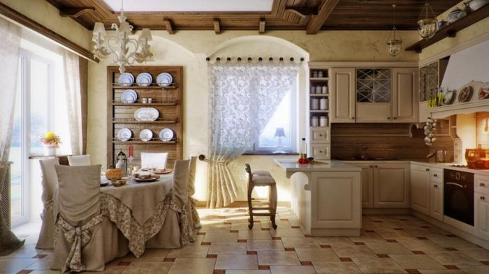 küchen im landhausstil warm gemütlich leuchter