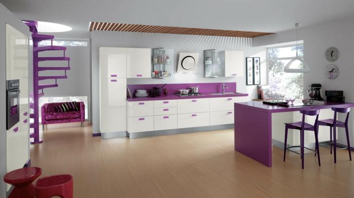 küchendesign frisches interieur lila akzente