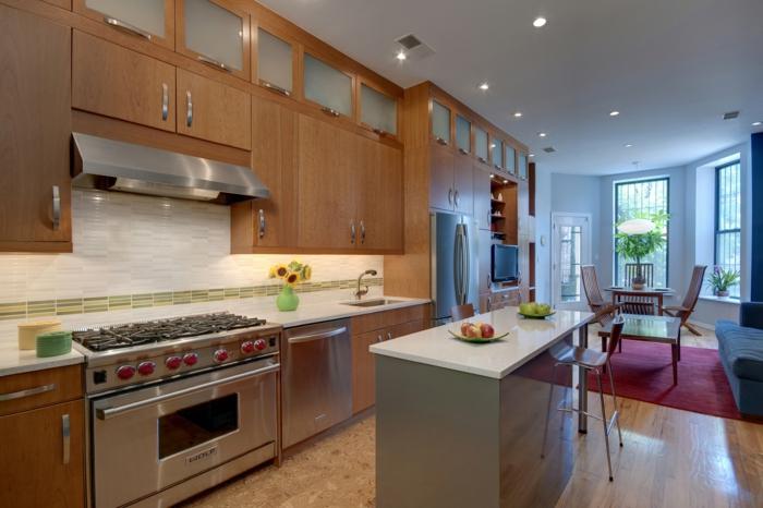 küchendesign kleine kücheninsel offenes interieur