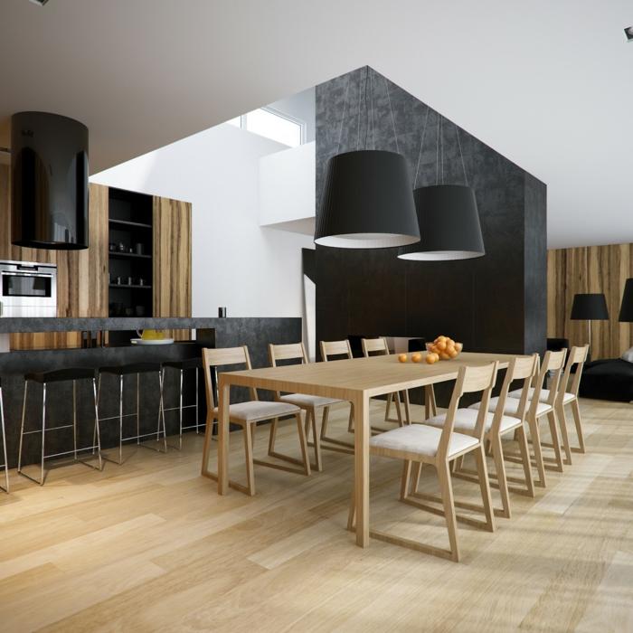 küchendesign minimalistische einrichtung holzboden schwarze akzente
