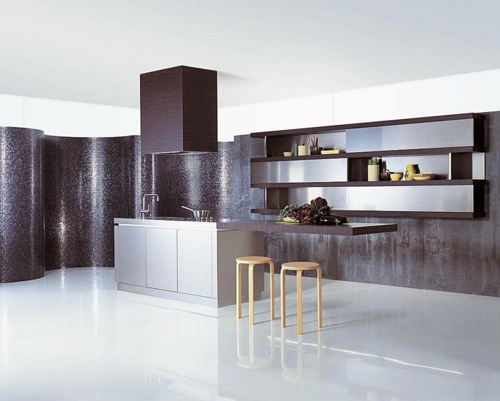küchendesign schöne beistelltische coole kücheninsel tolle wandgestaltung