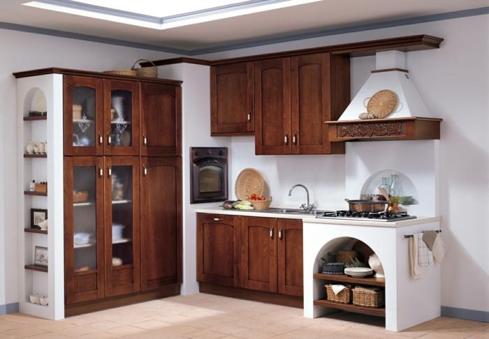 küchendesign schöne ideen regale weiße wandfarbe