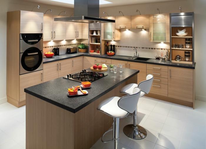 küchendesign stilvolle einrichtung coole beleuchtung barhocker