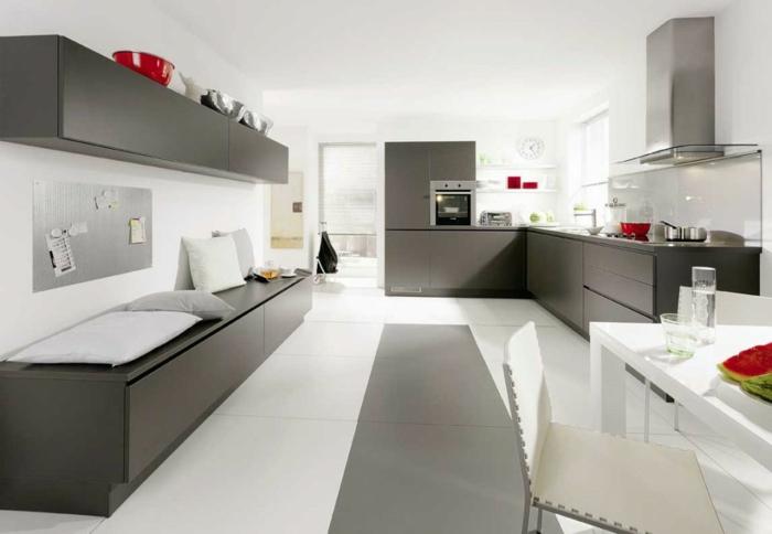 küchenmöbel kaufen grau funktional große bodenfliesen