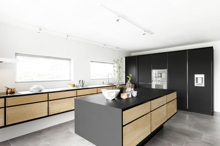küchenmöbel kaufen kücheninsel schwarze akzente