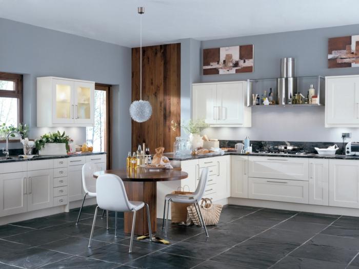 küchenmöbel kaufen runder esstisch hängelampe schöne texturen