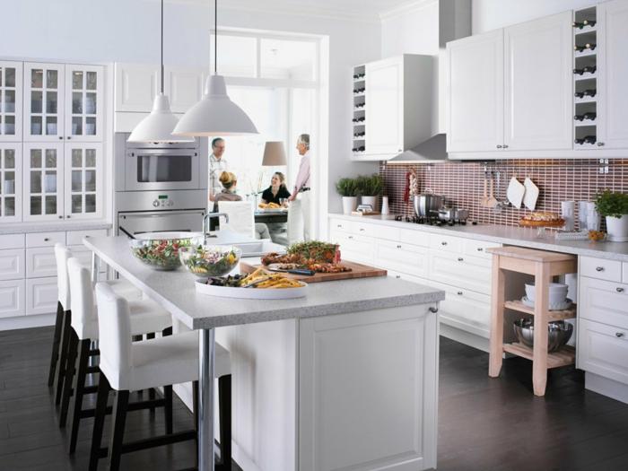 küchenmöbel kaufen weiß kücheninsel hängelampen