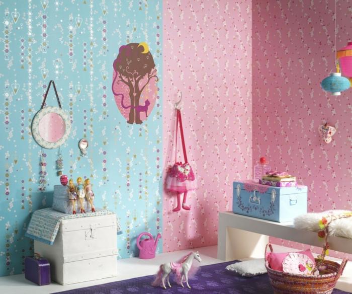 kinderzimmerwände gestalten farbige tapeten lila teppich