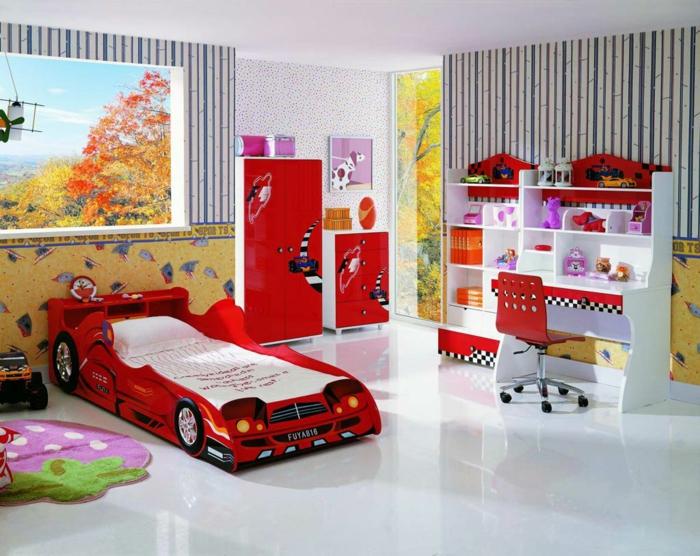 kinderzimmerwände gestalten jungenzimmer auto bett tapeten