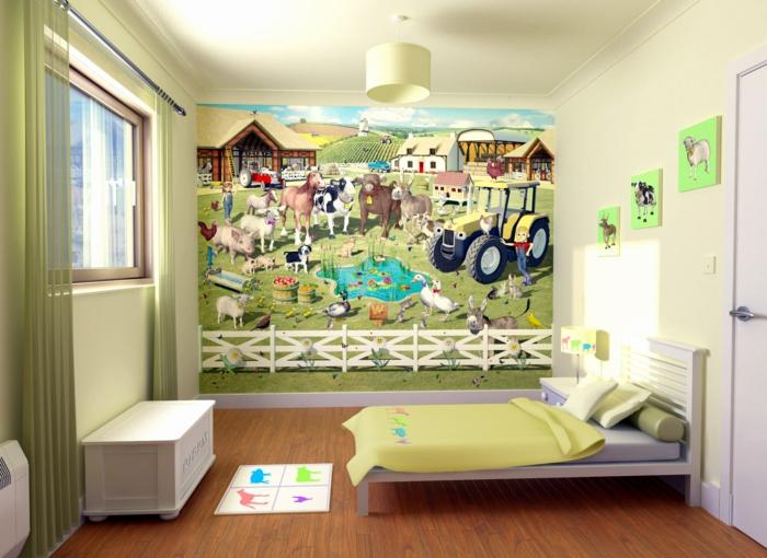 kinderzimmerwände gestalten landhaus lustige bilder