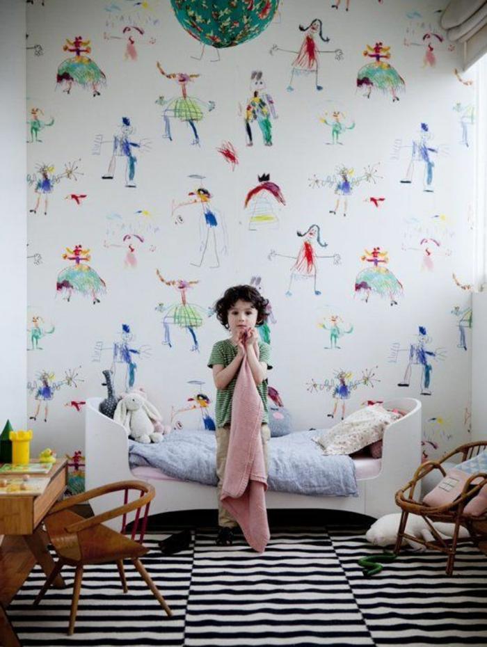 kinderzimmerwände gestalten lustige wandgestaltung farbiges tapetenmuster