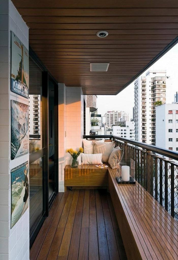kleine terrasse gestalten rustikal holzboden holzmöbel wohlfühloase
