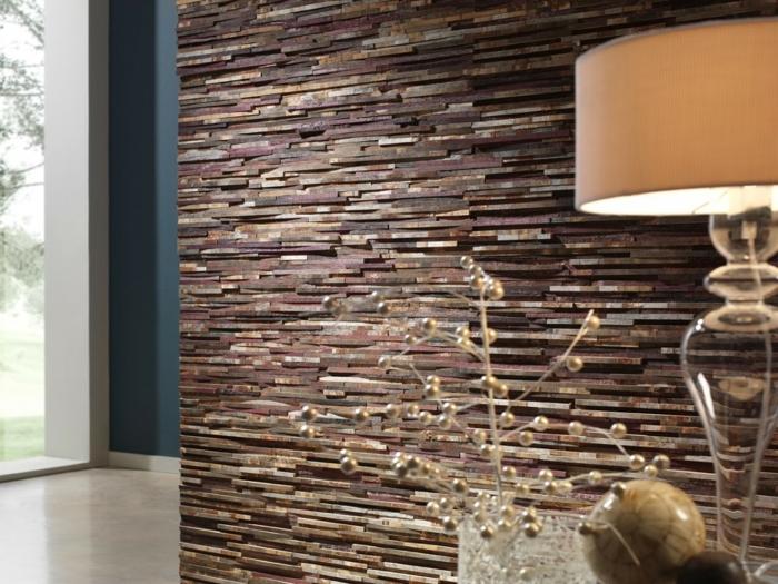 kreative wandgestaltung coole steinwand schöne wohnideen
