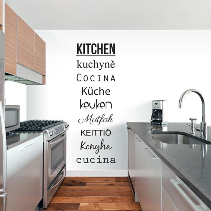 kreative wandgestaltung küche wandsprüche kleine küche