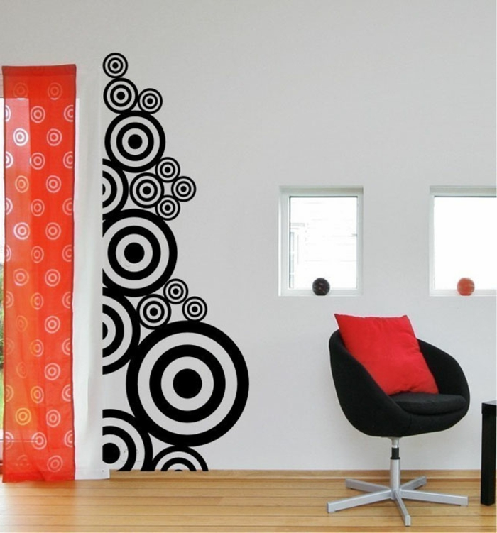 kreative wandgestaltung weiß schwarz kontrast