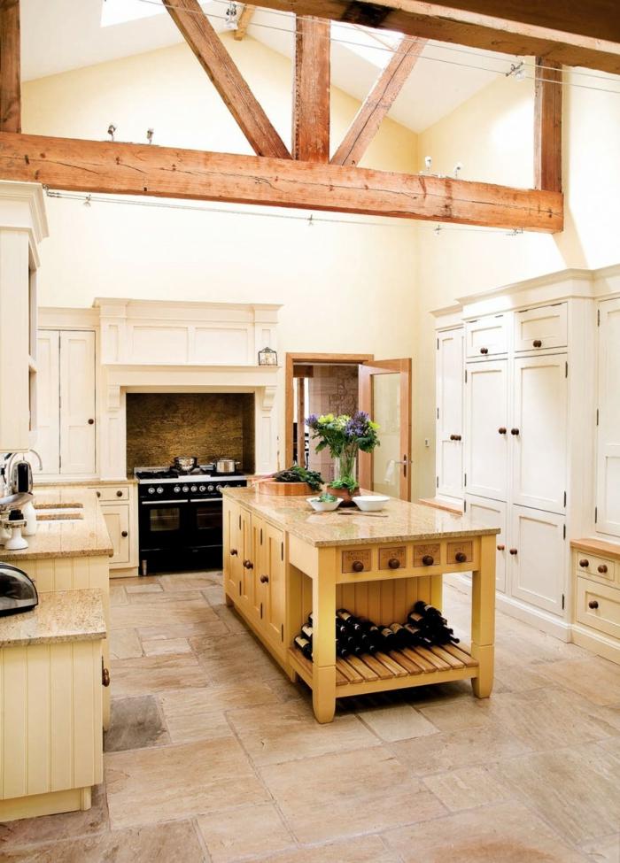 landhausküche einrichtung küche holz blumen
