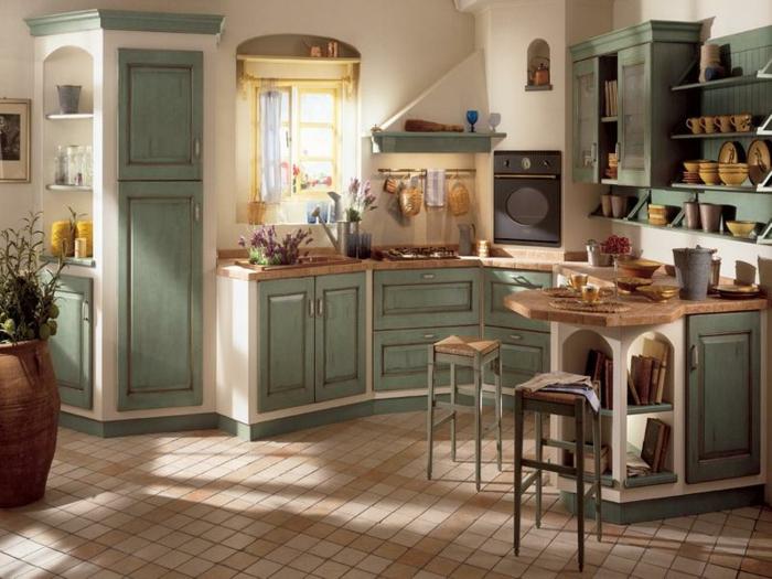 landhausküche grüne küchenschränke kleine bodenfliesen