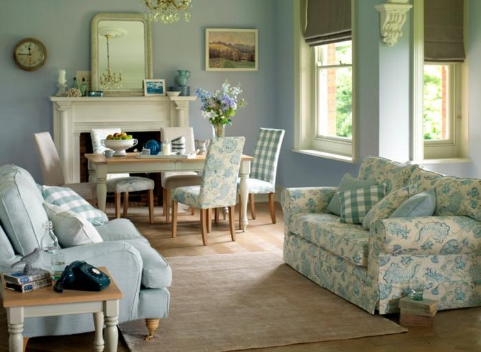 landhausstil wohnzimmer einrichten teppich essbereich blumen