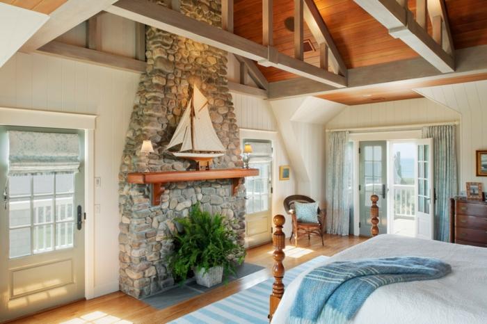 möbel landhausstil schlafzimmer einrichten steinwand
