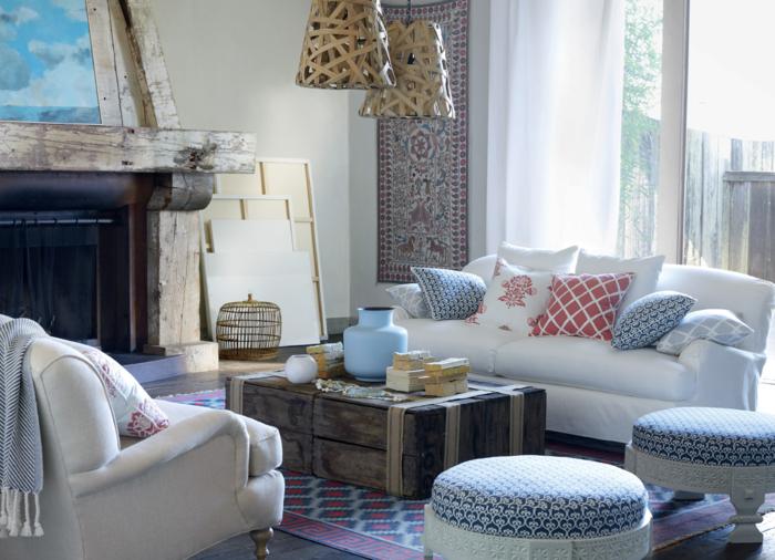 möbel landhausstil wohnzimmer einrichten cooler couchtisch kamin