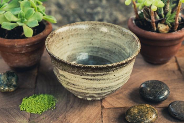 grüner tee traditionelle schüssel chawan