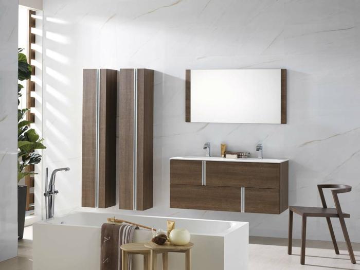 moderne badmöbel badewanne badschränke pflanzen