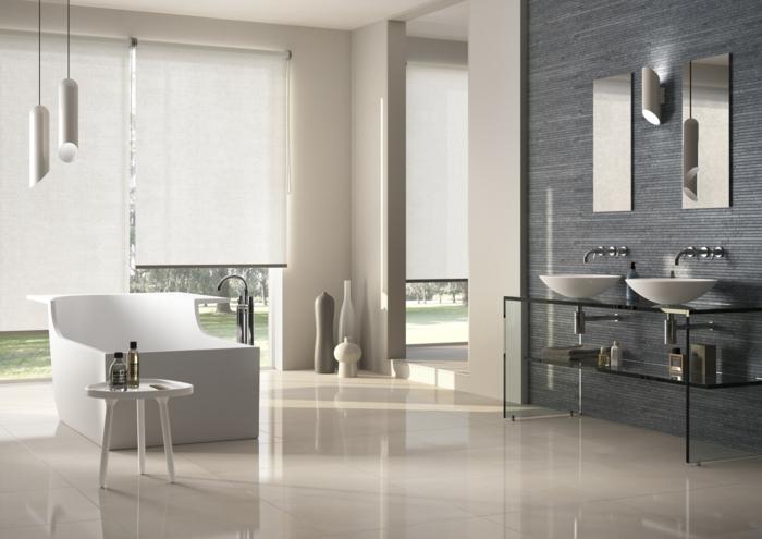 moderne badmöbel coole badewanne waschtisch pendelleuchten