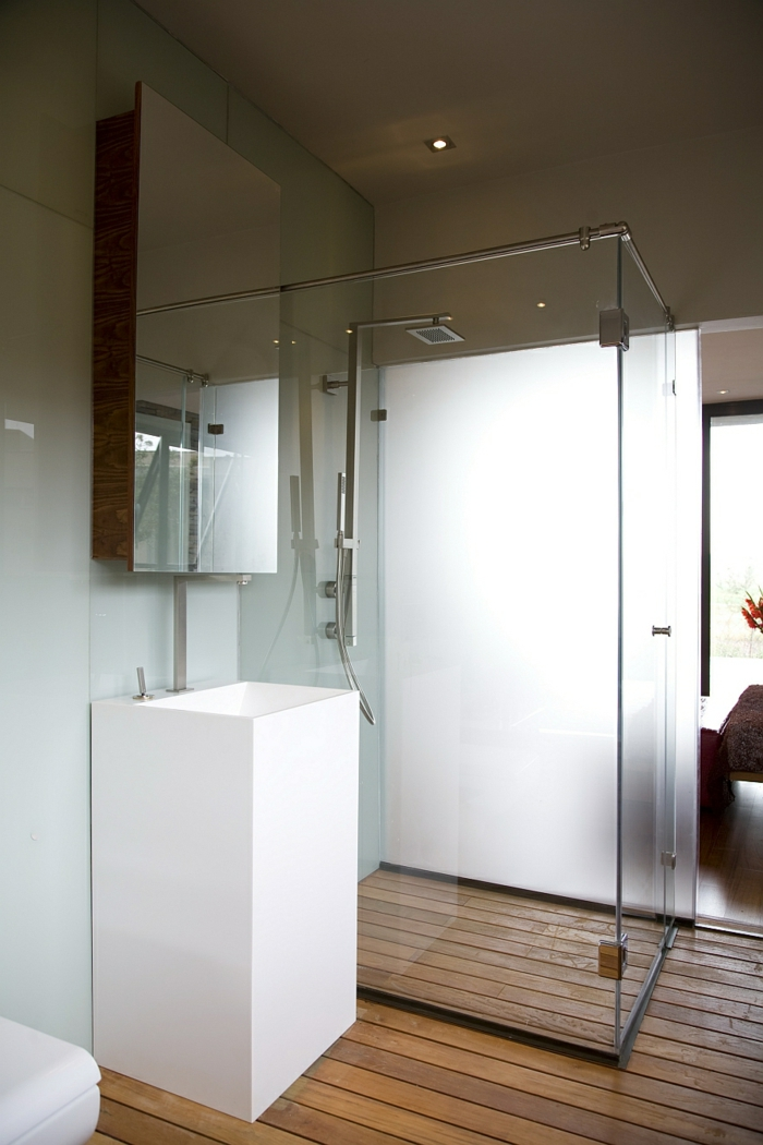 moderne badmöbel cooles waschbecken wandregal holzboden