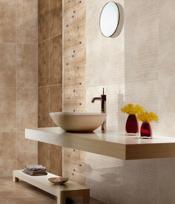 moderne badmöbel minimalistischer waschtisch hölzerne bank