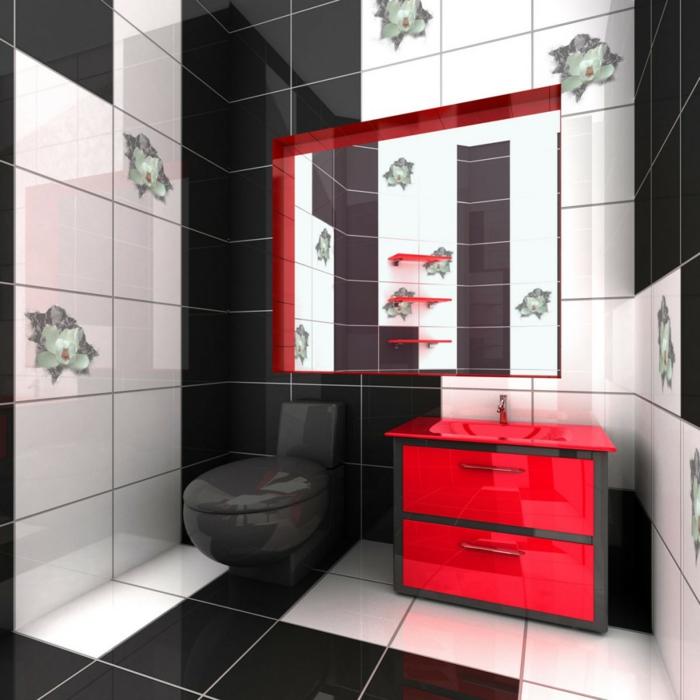 moderne badmöbel rotes waschbecken ausgefallene regale