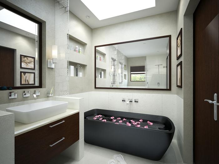 moderne badmöbel schwarze badewanne weiße badfliesen