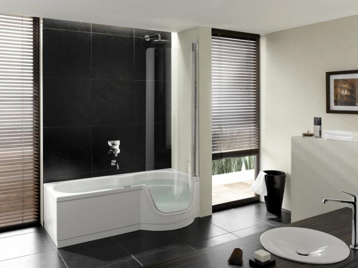 moderne badmöbel weiß dunkle bodenfliesen sichtschutz