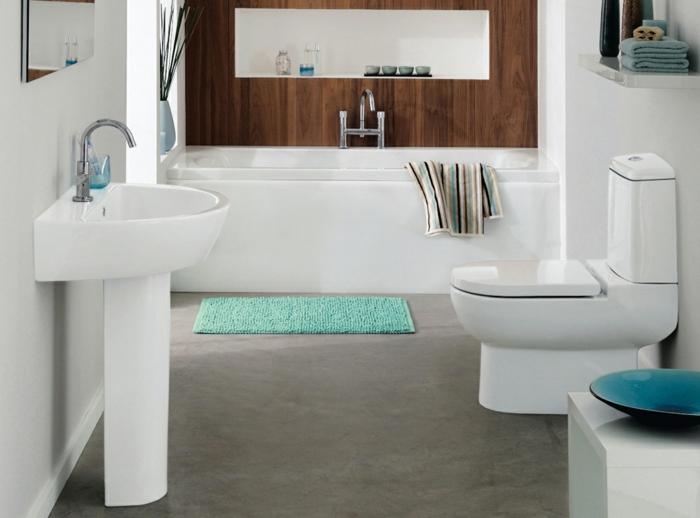 moderne badmöbel weiß frische akzente badewanne