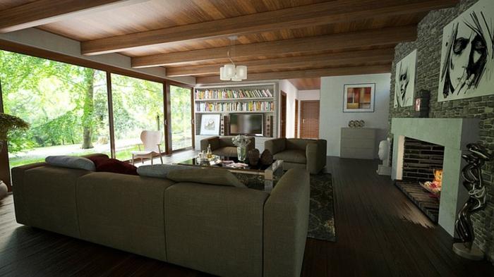 moderne doppelhäuser berlin einrichtung wohnzimmer kamin