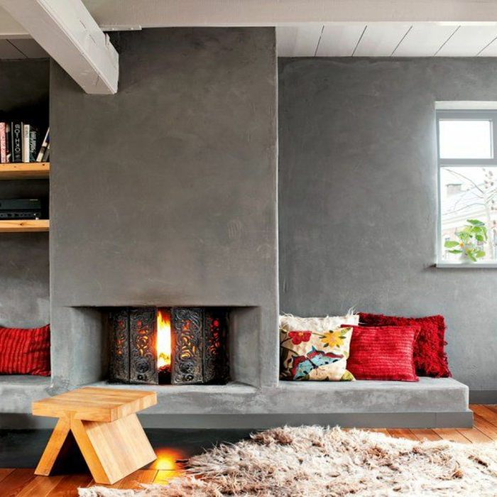 moderne kaminöfen cooles design teppich holzhocker