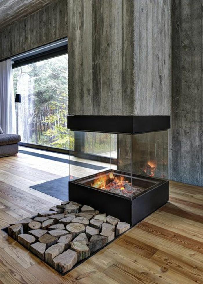moderne kaminöfen holzboden schickes innendesign