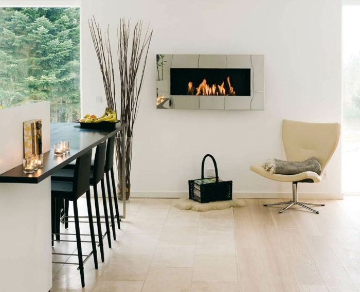 moderne kaminöfen küche kücheninsel sessel