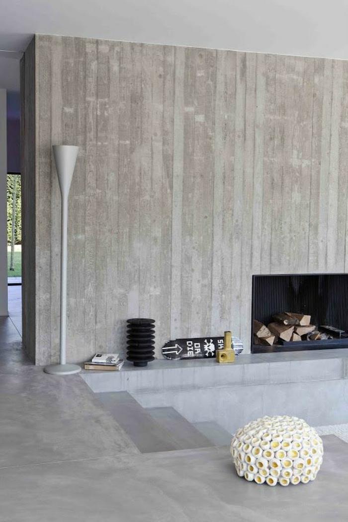 moderne kaminöfen minimalistisches design ausgefallener hocker