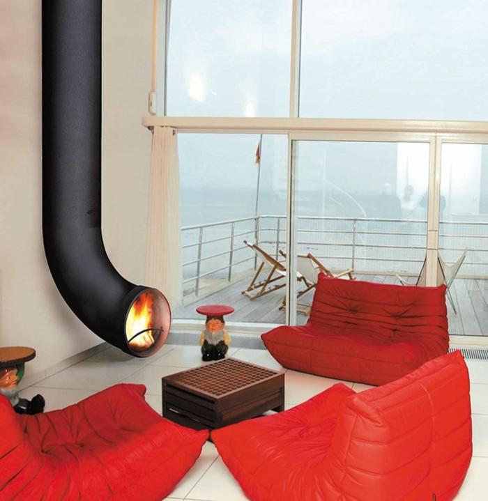 moderne kaminöfen rote wohnzimmermöbel beistelltische