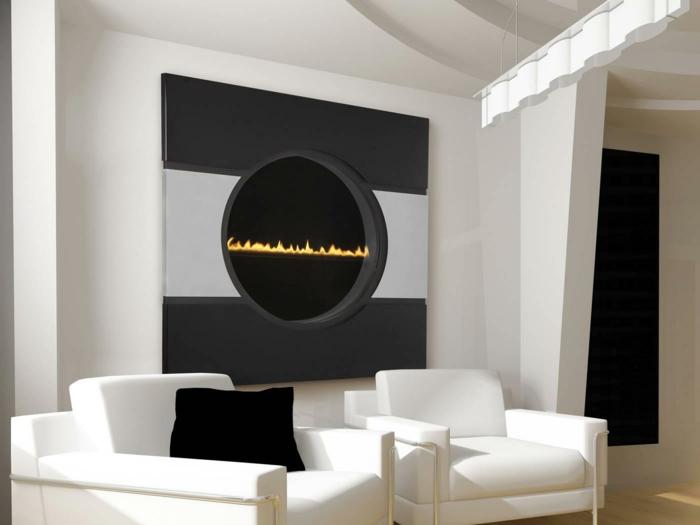 moderne kaminöfen rund futuristisch weiße wohnzimmermöbel