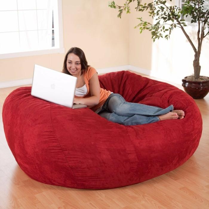 moderne möbel rotes sofa sitzpuffs