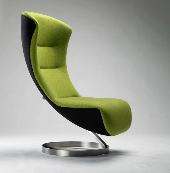 moderne stühle cooler grüner sessel metallbasis