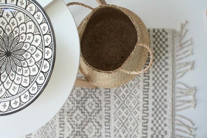 moderne teppiche außenmöbel rattan korb tisch