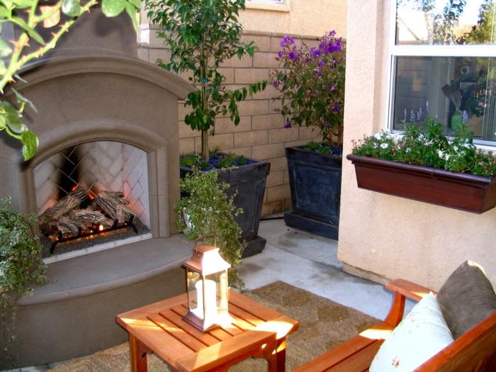 Moderne Holzmöbel Garten : Moderner Garten, welcher dem Innenbereich nachahmt