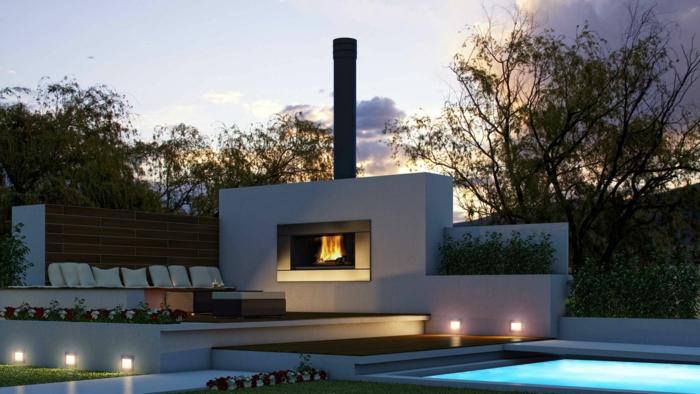 Moderner Garten Supermodern Dekokissen Feuerstelle