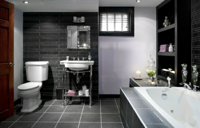 modernes bad einrichten badegestaltung badfliesen schwarz