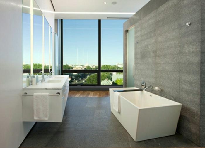 modernes bad einrichten badegestaltung freistehende badewanne