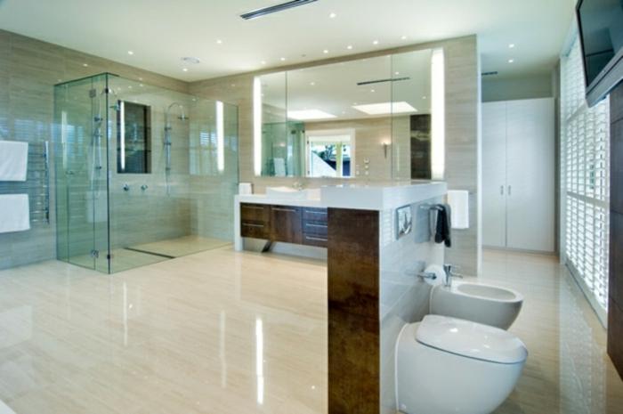 modernes bad einrichten badegestaltung glas dusche