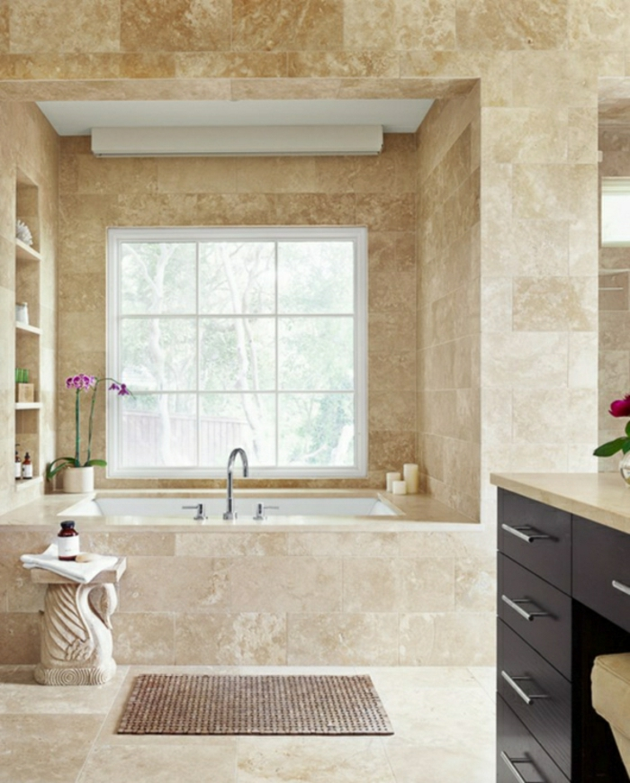 modernes bad einrichten badmöbel badfliesen beige
